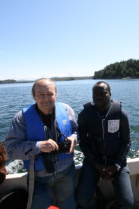"Rudo and Kouadio onboard the ""Aurelia"""